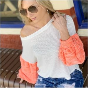 Ivory Waffle Knit Top with neon coral puff sleeve